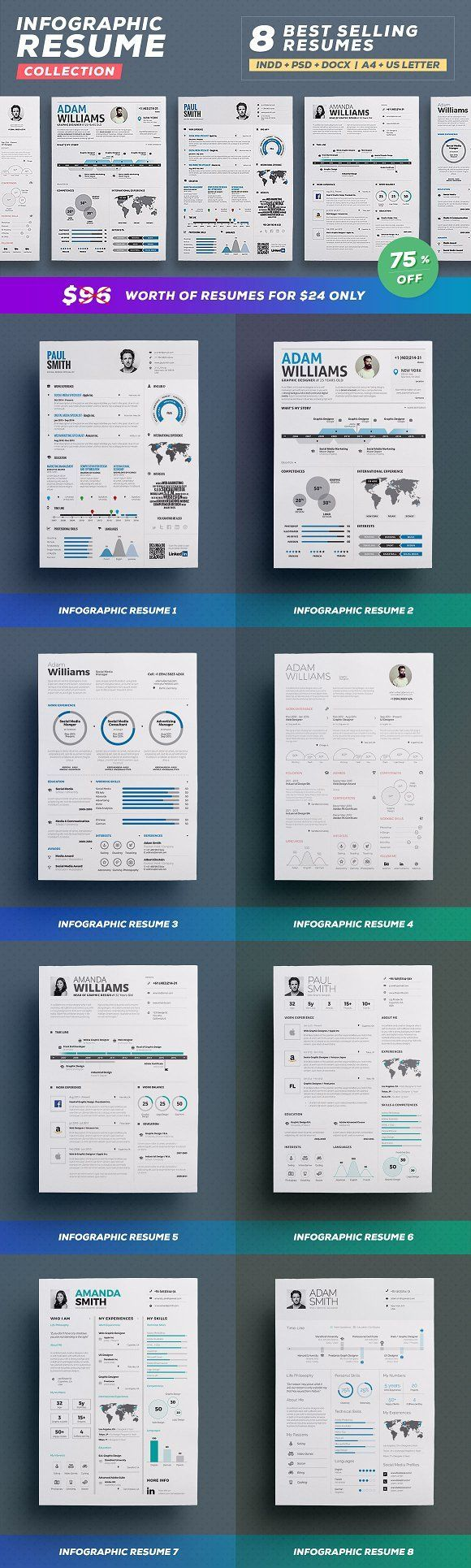 Infographic Resume Bundle by TheResumeCreator on @creativemarket Professional, modern, stylish and creative resume design template for your new job. Use this simple ready to use layout – only add a picture, your profile and your skills – or grab some ideas.