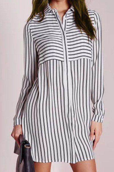 Шикарный воротник рубашки с длинным рукавом полосатой Женская рубашка платье