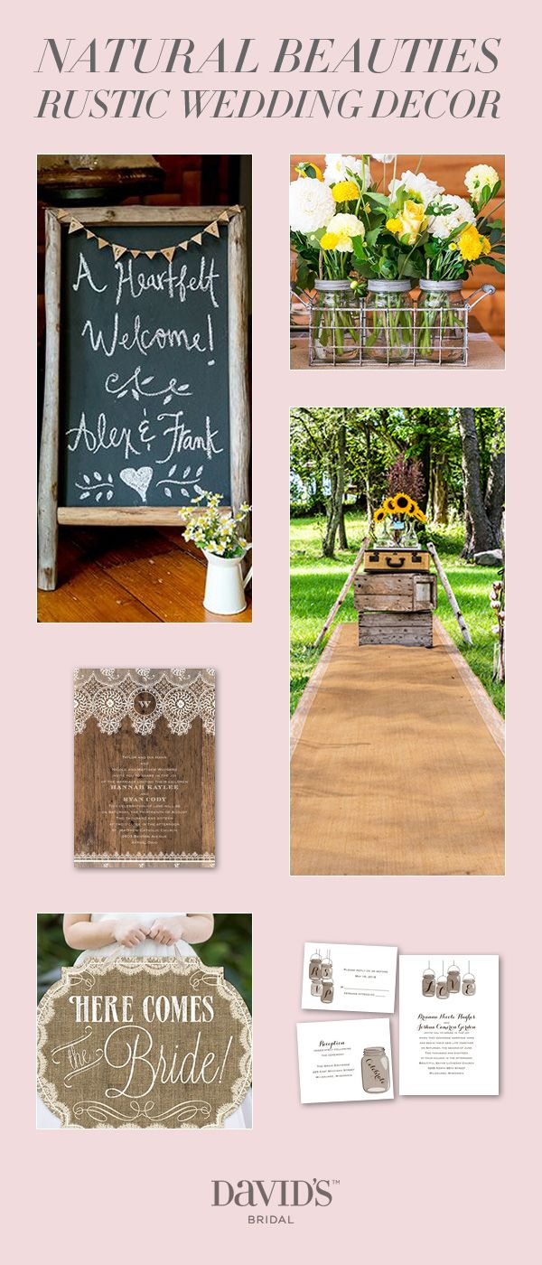 "Say ""I Do"" with rustic, chalkboard, and lace details from David's Bridal that define your unique wedding style."