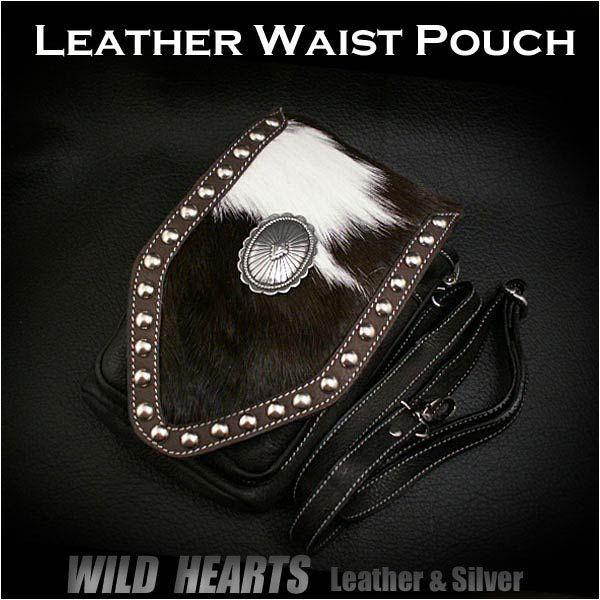 Wear it three different ways! Versatile! Go hands-free!  Hair on Cowhide Leather Waist Pouch Hip Pouch Belt/WILD HEARTS Leather&Silver  http://global.rakuten.com/en/store/auc-wildhearts/item/wp0855r58/