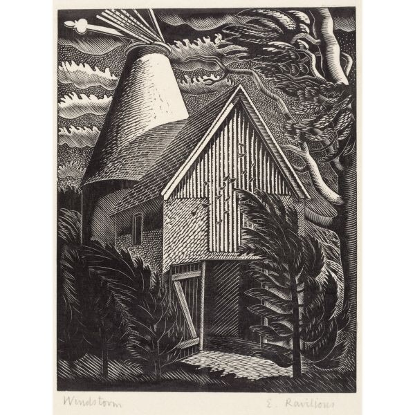 Full Windstorm ~ Artist:Eric Ravilious London 1903-1942 wood engraving on paper