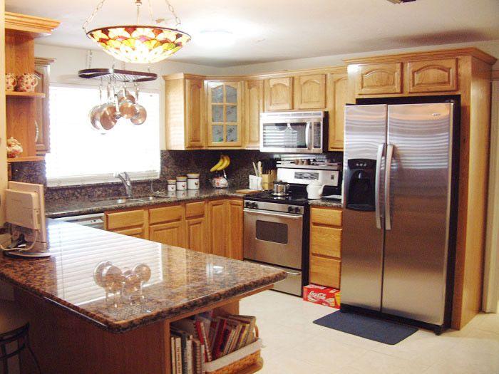 37 best kitchen images on pinterest kitchen honey oak for Kitchen ideas honey oak cabinets