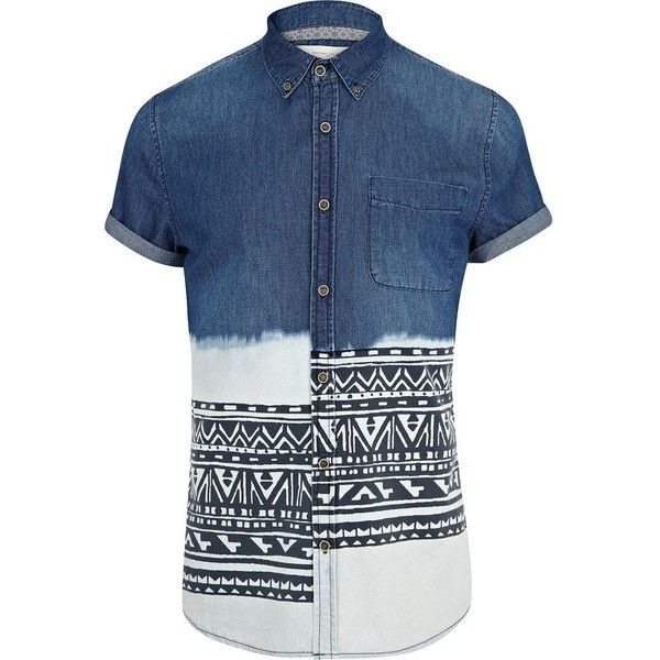 River Island Mid wash dip dye aztec stripe denim shirt found on Polyvore featuring polyvore, men's fashion, men's clothing, men's shirts, men's casual shirts, shirt's, mens roll sleeve shirt, mens aztec print shirt, mens short sleeve casual shirts and mens button shirts