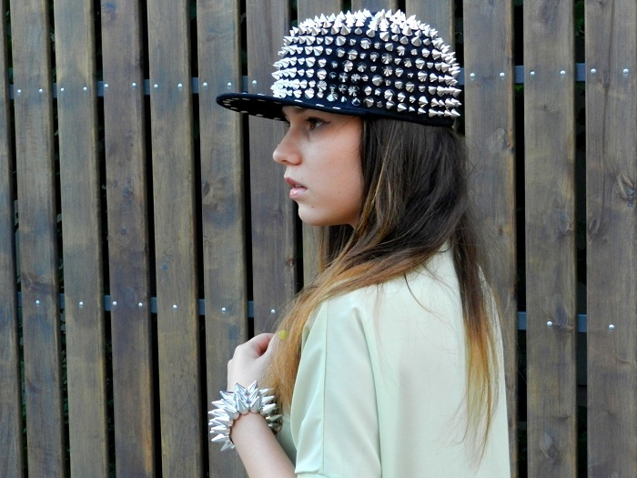 Silver-tone Spike Embellished Hat