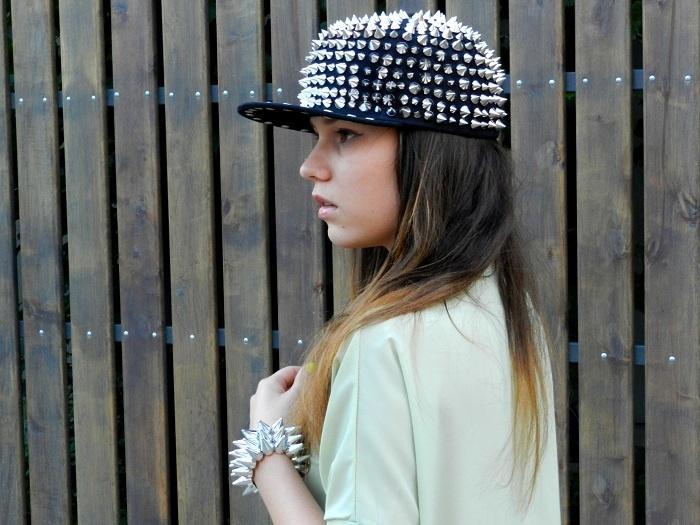 Silver-tone Spike Embellished Hat