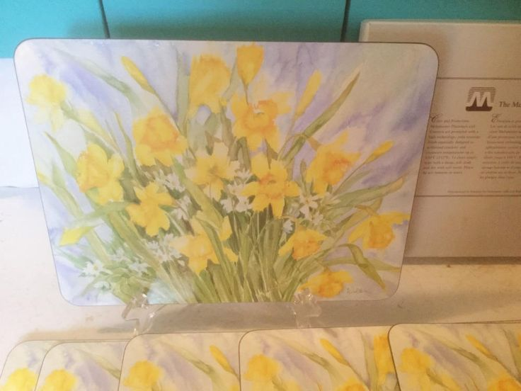 "Daffodil Meadow"" Table Setting Mats by Sue Ellen Wilder, Set of 6, Signed by Artist, Cork Backing, by TrashMaMa on Etsy"