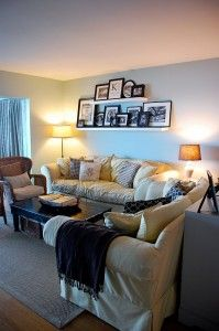 21 Military Housing Hacks: Tips for Decorating and Storage. I want to do this picture idea beside our sofa set in the living room because we have long windows behind it. No room for pictures.