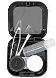 Kontaktlinsen-Behälter in Schwarz Set für Monatslinsen Tages-Linsen-Box mit Spiegel Kontaktlinsen-Flüssigkeit Flasche für Pflegemittel Kombilösung Reise-Set Pinzette Case