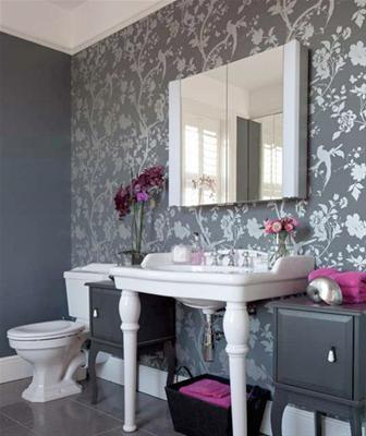 Wallpaper accent wall idea decor pinterest for Grey bathroom wallpaper