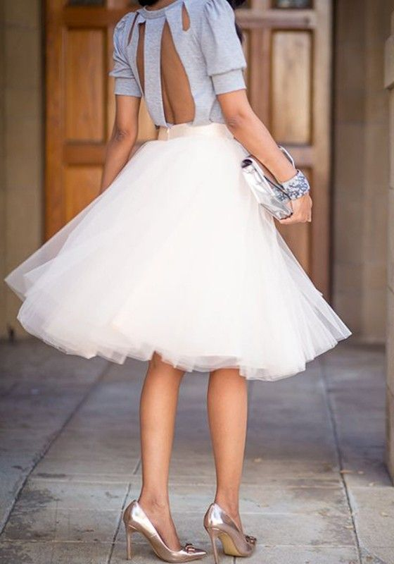 White Plain Draped Grenadine New Fashion Latest Women Puffy Tulle High Waisted Knee Length Adorable Tutu Skirt - Street Snap - Trends