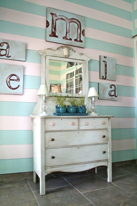 the stripes, the letters...: Turquoise Blue, Mint Stripes, Ideas, Blank Wall, Favorite Things, Stripes Wall, Alphabet Wall, Turquoi Blue, Paintings Dressers
