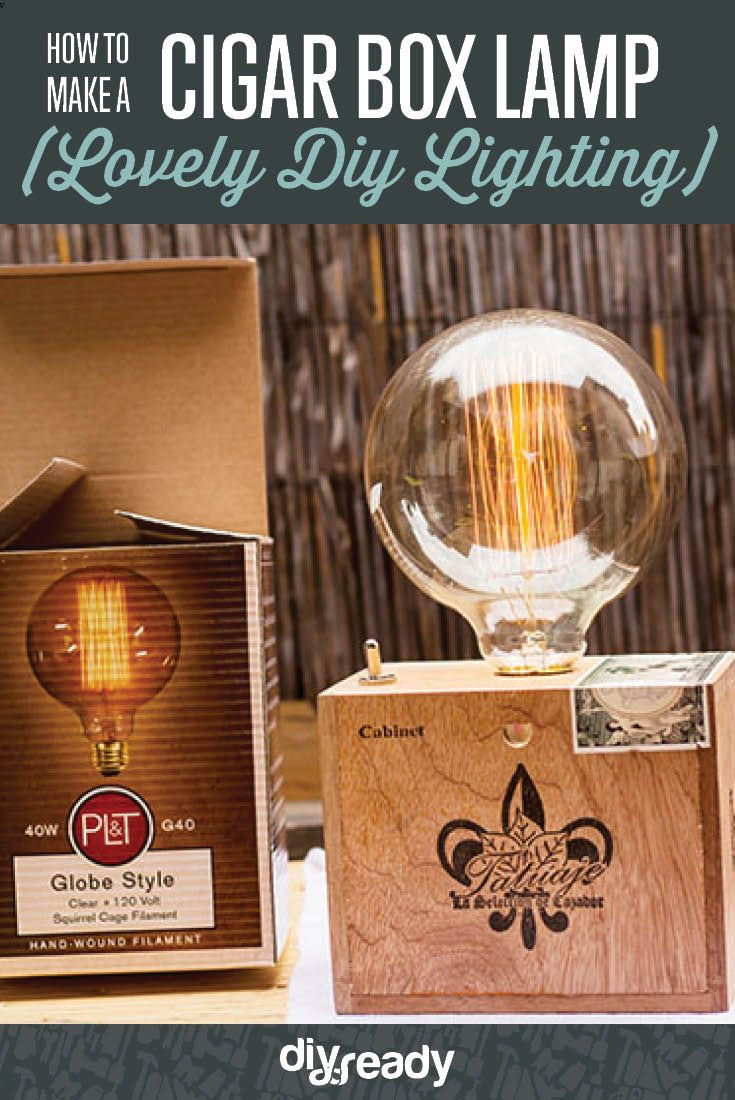 How to Make a Cigar Box Lamp | DIY Lamp Tutorial - Unique, Vintage Inspired Lamp Great For Gifts by DIY Ready at http://diyready.com/how-to-make-a-cigar-box-lamp-diy-lamp-tutorial/