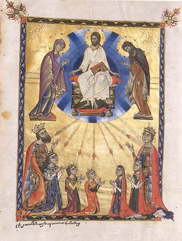 portraits of King Levon III, Queen Keran, and their children. Jerusalem, Armenian Patriarchate 2563 - 1272, fol. 380 -> witnessing Deesis(+ iconography of pentecost/transfiguration?) -> not a strictly a narrative scene, but still witnessing divine