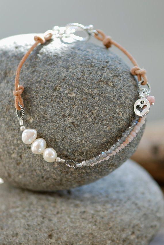 Sea Blue Studio : Pearl Bracelet, Charm Bracelet, Pink Peruvian Opal, Labradorite and Fresh Water Pearl, Leather and Silver Bracelet