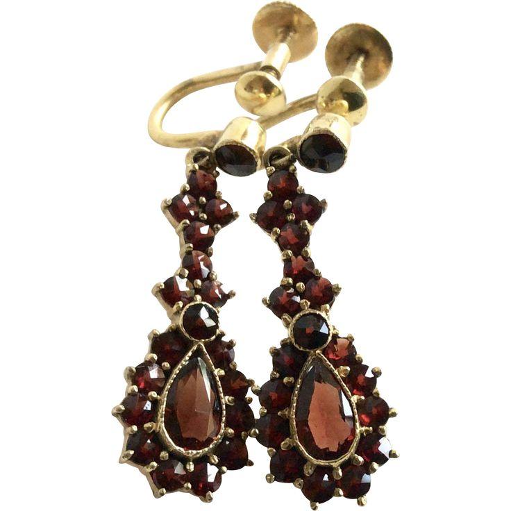 German Vintage Bohemian Garnet Dangle Earrings  $159 offered by link2Jewels on Ruby Lane