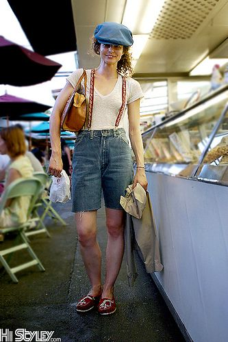 Trip to the farmers market never looked so stylish - patterned red suspenders with ripped jean shorts and newsie cap