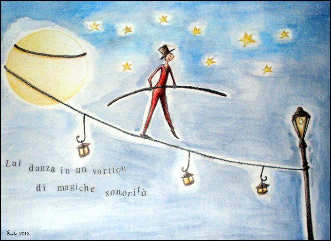 """""""L'equilibrista"""" Pastelli e acquerelli su carta di Evita cantoni"""