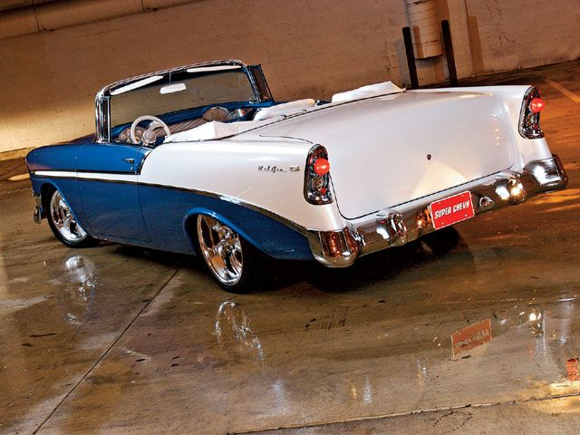 I just love the 1956 Chevrolet Bel Air Convertible in blue & white!