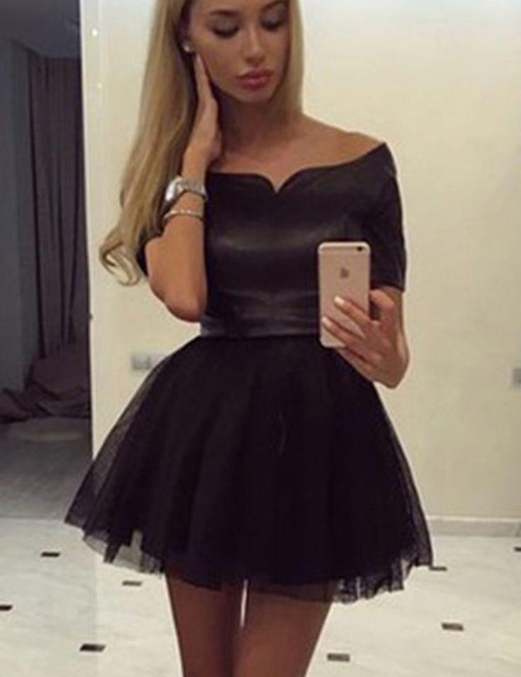 Hot Off-the-shoulder Short Sleeves Short Black Homecoming Dress