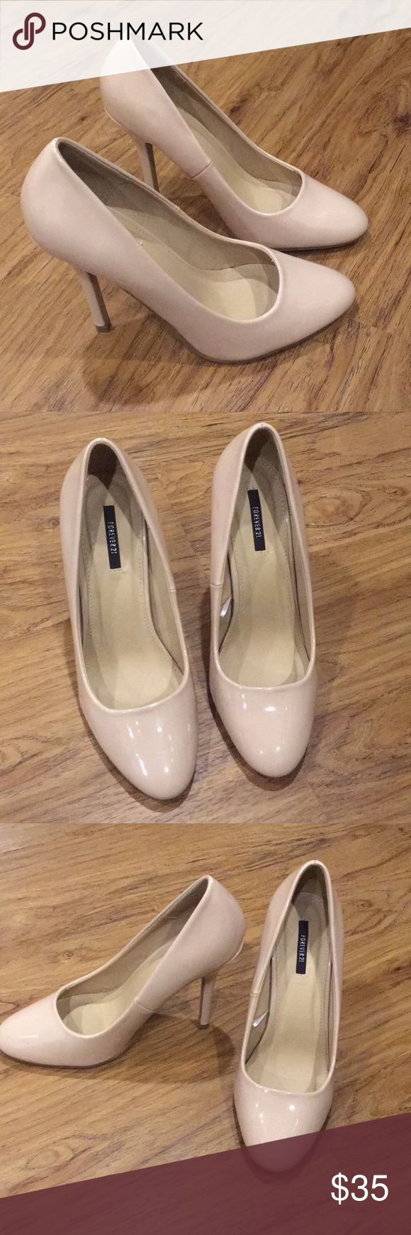 Flattering heels These champagne-colored heels are practically brand new if not for one or two hardly noticeable markings Forever 21 Shoes Heels