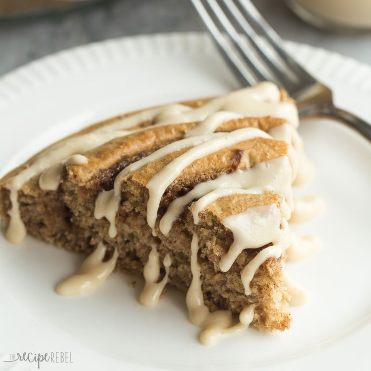 This Healthier Cinnamon Roll Baked Pancake is whole wheat, low in sugar, and…