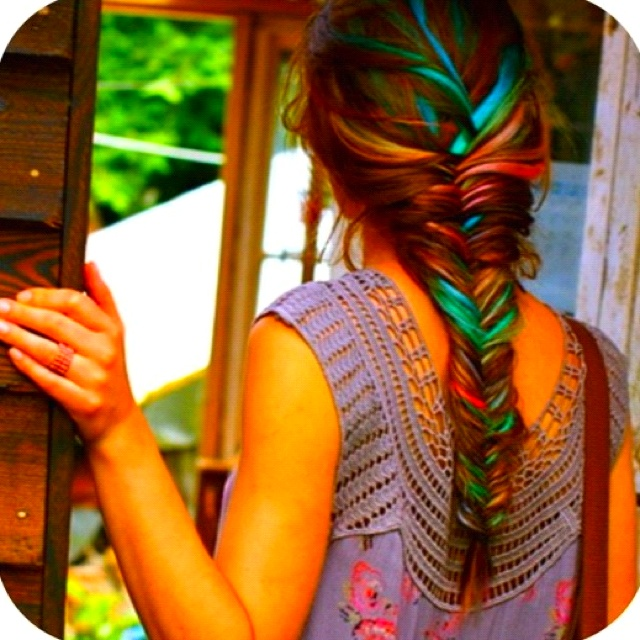 Highlights!!: Fish Tail, Hair Colors, Long Hair, Blue Hair, Hairstyle, Hair Style, Fishtail Braids, Hair Chalk, Colors Hair