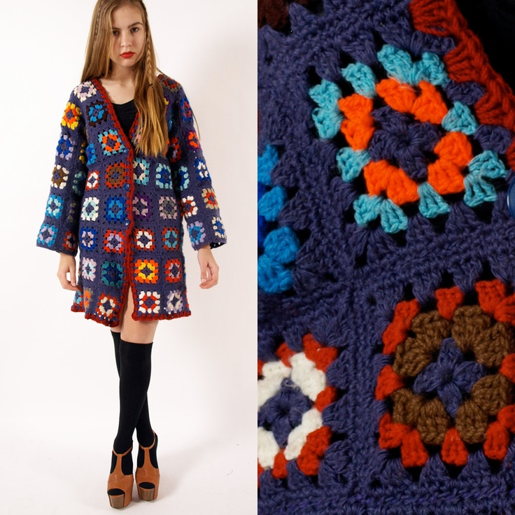 Vintage wool crochet granny square jacket cardigan S - Not a pattern.  I may have one in an old book, but thought it looked complicated.