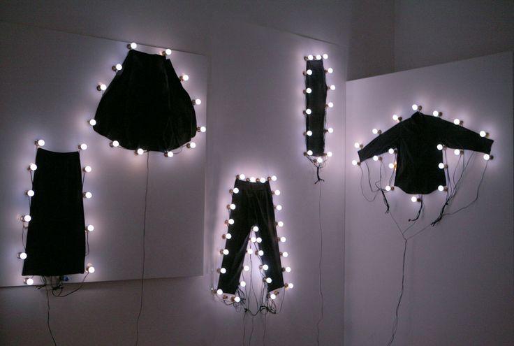 led lights around clothig. visual display