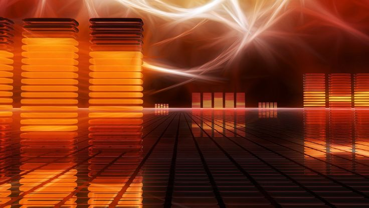 Abstract music wallpaper. Barras de ecualizador en 3D.