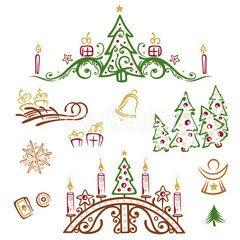 Weihnachts Vektor Set, Tannenbäume