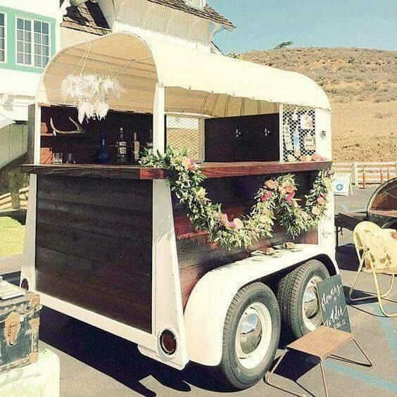 Repurpose old horse trailers for special events....Wedding Receptions!