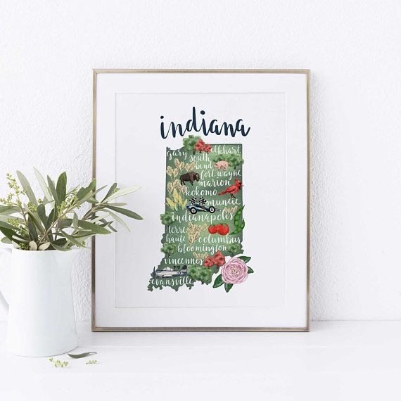 Indiana Map Home State Prints Indianapolis Hoosier State ... on florida wall map, indiana state house map, indiana state world map, indiana state on us map, indiana state political map, indiana state travel map, indiana state road map, california wall map, new orleans wall map, indiana state township map, indiana state usa map, north carolina wall map,