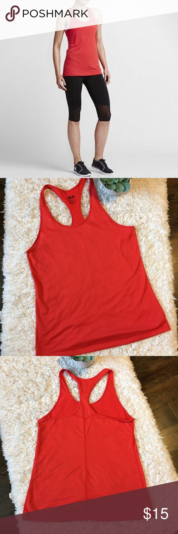Nike Balance Tank LT Crimson racer back size L Women's Nike Balance Tank in Lt. Crimson color.  This racer back tank is in great condition.  Dry fit fabric keeps you dry and comfortable. Slim fit 100% Polyester  Size Large Approximate measurements on attached photos Nike Tops Tank Tops