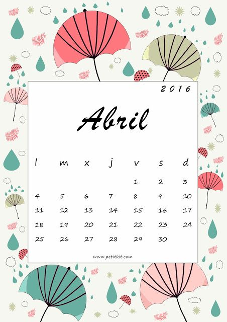 Petit Kit: Calendario abril 2016: imprimible y fondo de pantalla- free