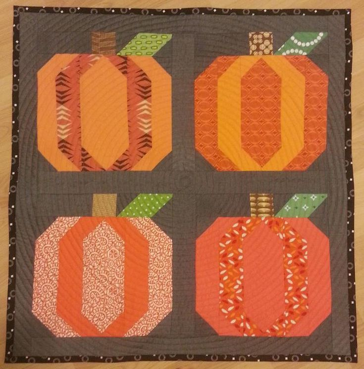 (7) Name: 'Quilting : Pumpkin Block