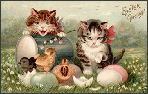 The Easter Kittens: Easter Kittens, Paaskatj Paaskaart Lb, Easter Postcards, Easter Cards, Vintage Easter, Antiques Postcards, Spring, Vintage Cat, Vintage Cards
