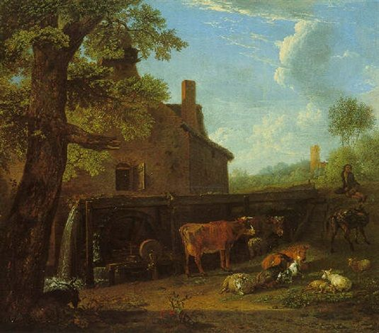 Paulus Potter - Cattle, sheep, and goats at pasture near an over-shot watermill