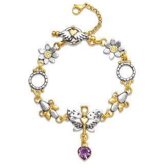 Papillion strand charm bracelet with spotty wing butterfly and amethyst set heart drop.  Sophie Harley, Beautiful Designer PBS14 from the Papillion Rose collection.
