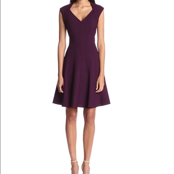 New Calvin Klein Purple Fit/Flare Dress w Gold Det Size: 4 | Color: Aubergine / Deep Purple | Cocktail Dress or Wear to Work | Imported | Dry Clean Only | Cap-sleeve dress in fit-and-flare silhouette featuring layered shoulders and V-neckline | Center back exposed zipper in gold Calvin Klein Dresses