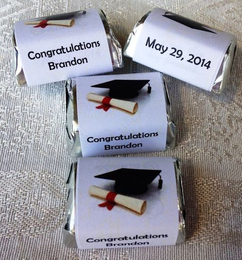 210 GRADUATION THEMED personalized candy wrappers, adhesive stickers, labels for your Hershey nuggets. Make great party favors! on Etsy, $10.99