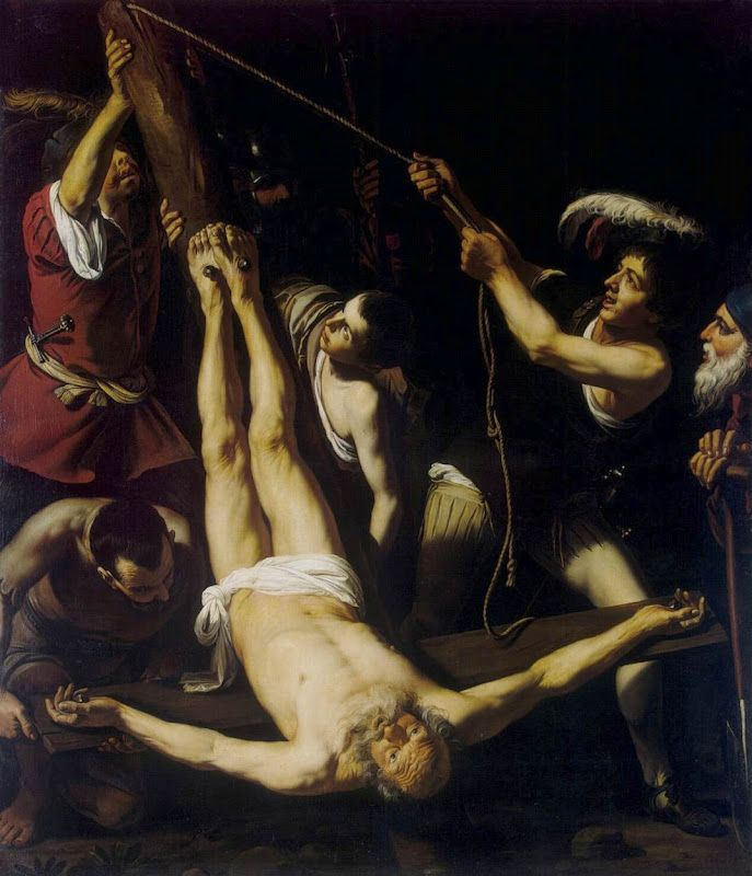 Peter was crucified upside down, never feeling worthy to be executed like his Lord. Description from shoebat.com. I searched for this on bing.com/images
