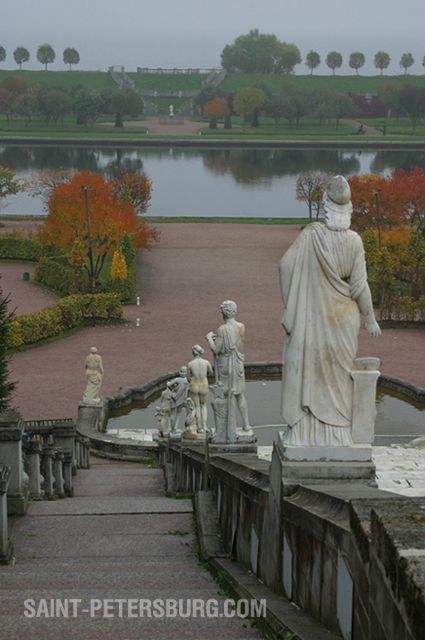 View of Lower Park in Peterhof From the Golden Cascade