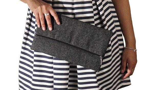 Black denim foldover clutch, zipper clutch, zippered clutch, clutch purse, clutch bag, summer clutch, de almeida designs