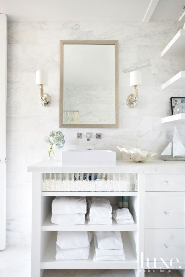 custom-made vanity embellished with mirrored mosaic glass ...