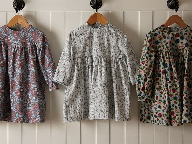 Toddlers Dresses with Vintage Patterns: Simplicity 6713, c. 1966; McCall's 8152, c. 1965 (fabric is Liberty Tana Lawn Mae); and McCall's 9525, c. 1968 ~ Posie Gets Cozy