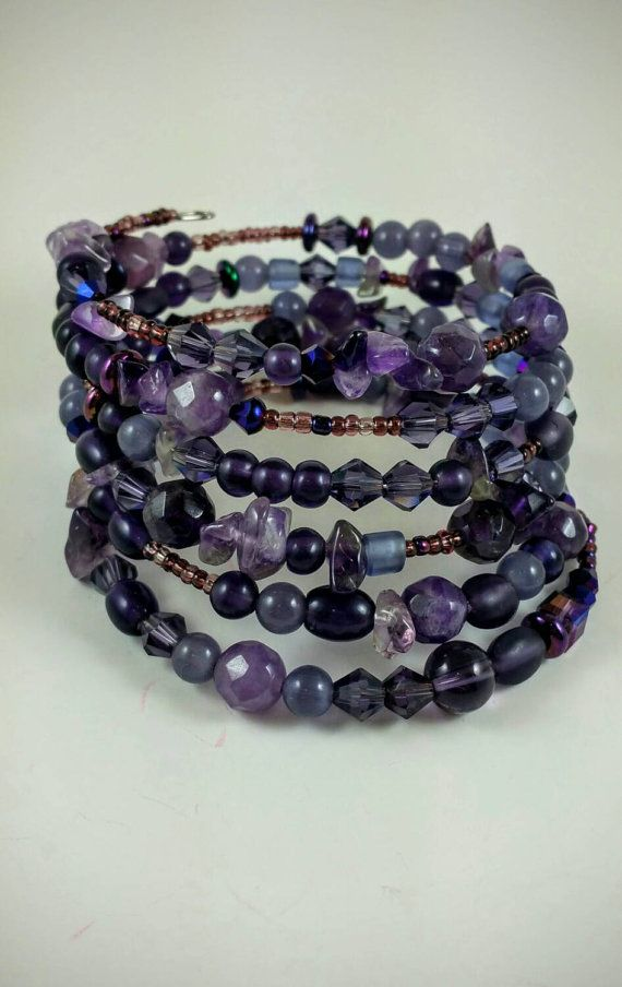 Check out this item in my Etsy shop https://www.etsy.com/listing/249074235/amethyst-memory-wire-bracelet-purple