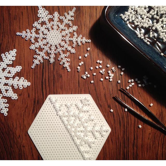 Snowflakes hama beads by mrspinehill