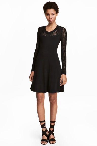 Robe en maille fine - Noir - FEMME | H&M FR 1