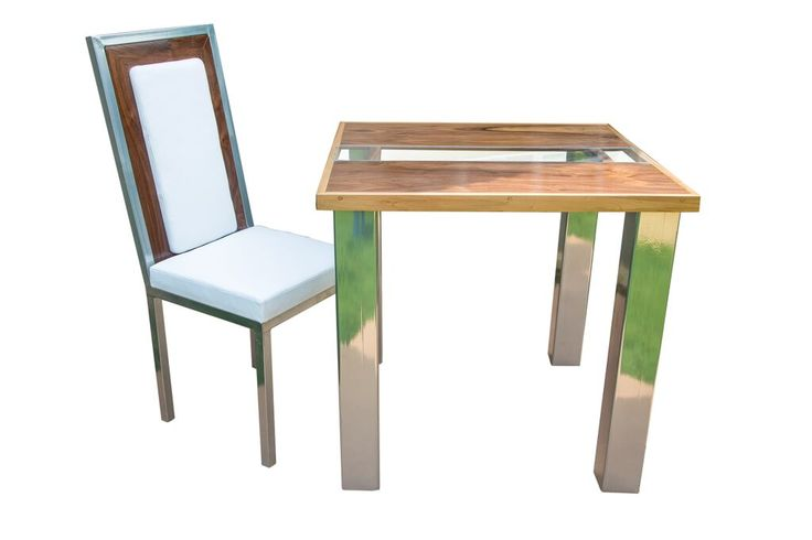 Walnut dining table and chair design.