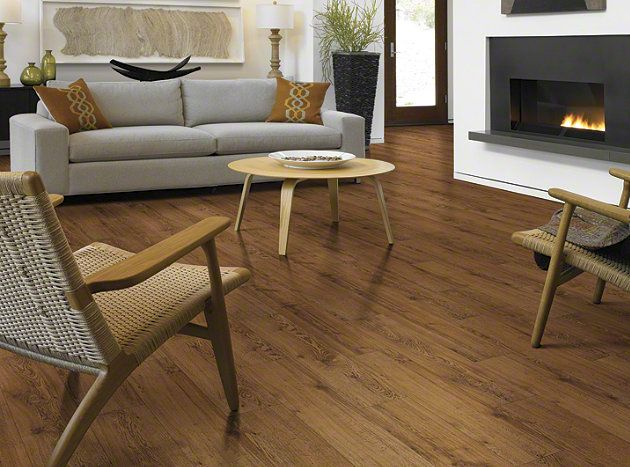 """Resilient Flooring in style """"Sumter Plank"""" color Gunstock Oak - Flooring by Shaw"""